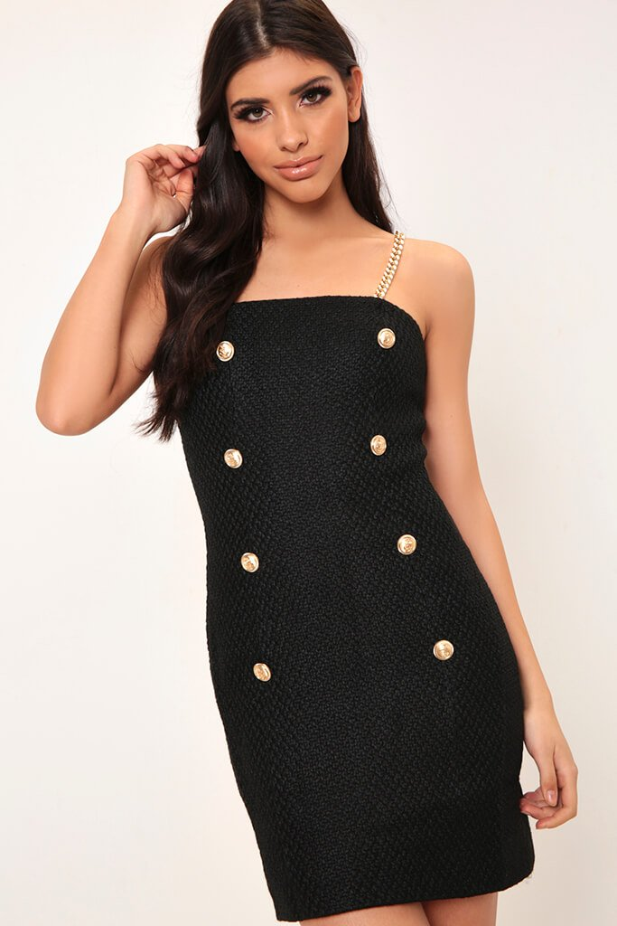 Black Chain Strap Pinafore Dress
