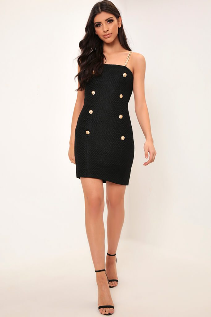 Black Chain Strap Pinafore Dress view 2