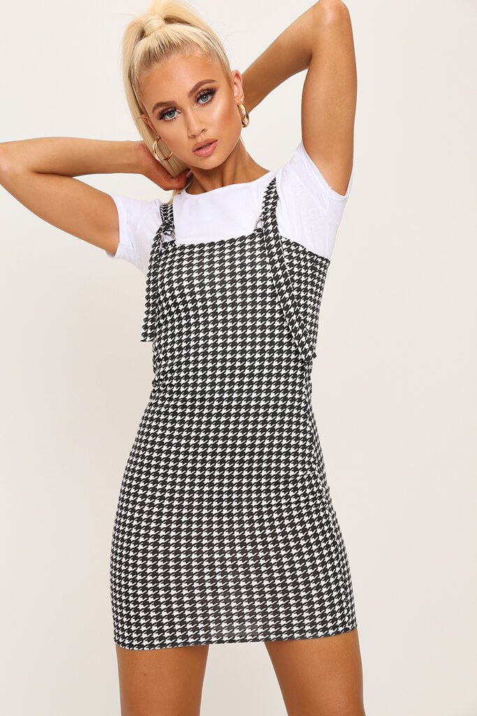 Black/White Woven Dogtooth Buckle Detail Pinafore Dress view 2