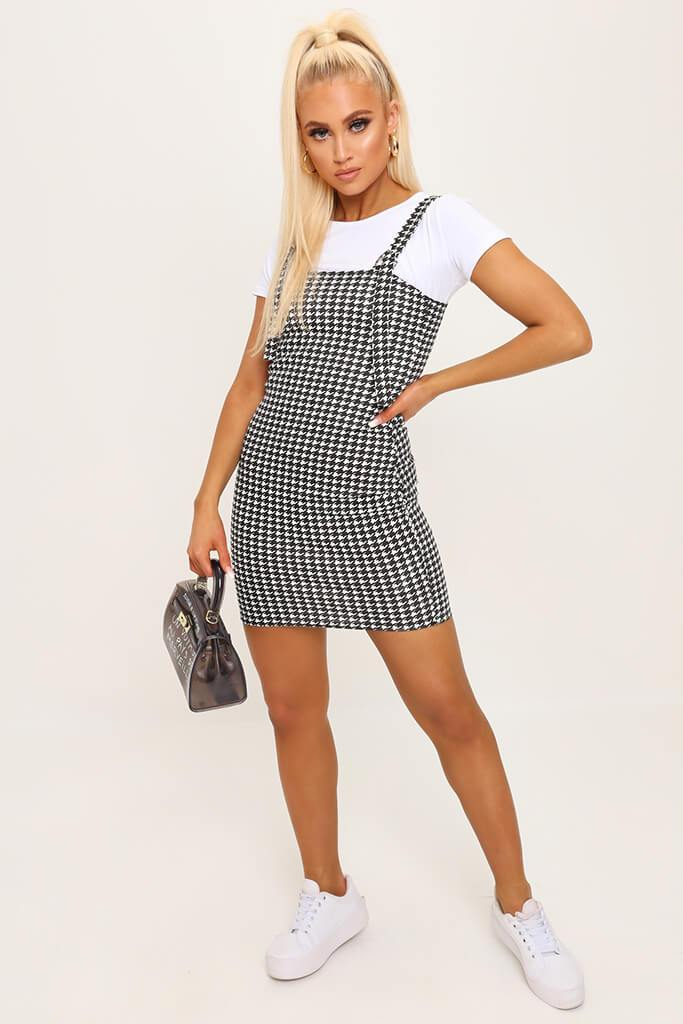 Black/White Buckle Pinafore Dress