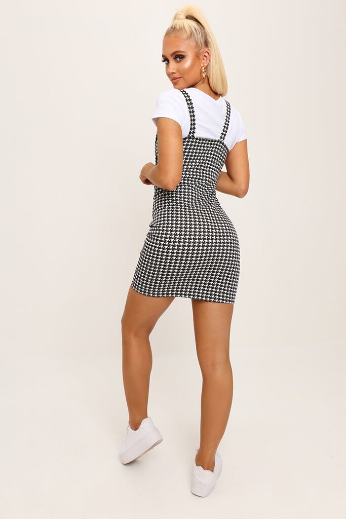 Black/White Woven Dogtooth Buckle Detail Pinafore Dress view 5