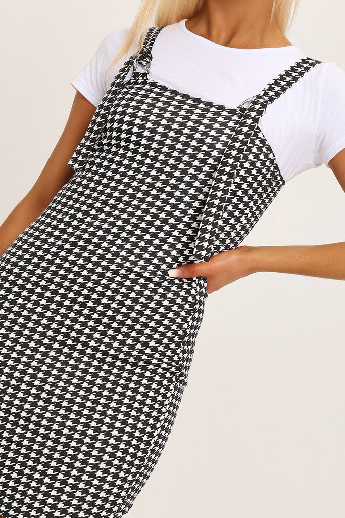 Black/White Woven Dogtooth Buckle Detail Pinafore Dress view 4