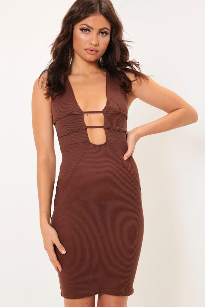 Chocolate Cage Plunge Bandage Midi Dress view main view