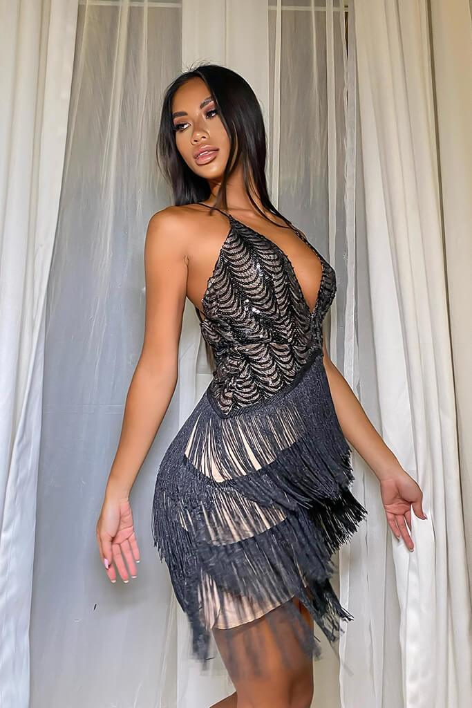 Black Sequin Plunge Dress With Fringed Skirt view 3