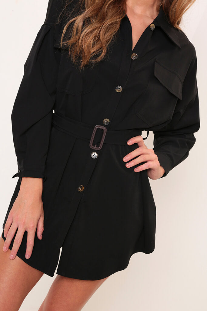 Black Drop Shoulder Belted Oversized Shirt Dress view 4