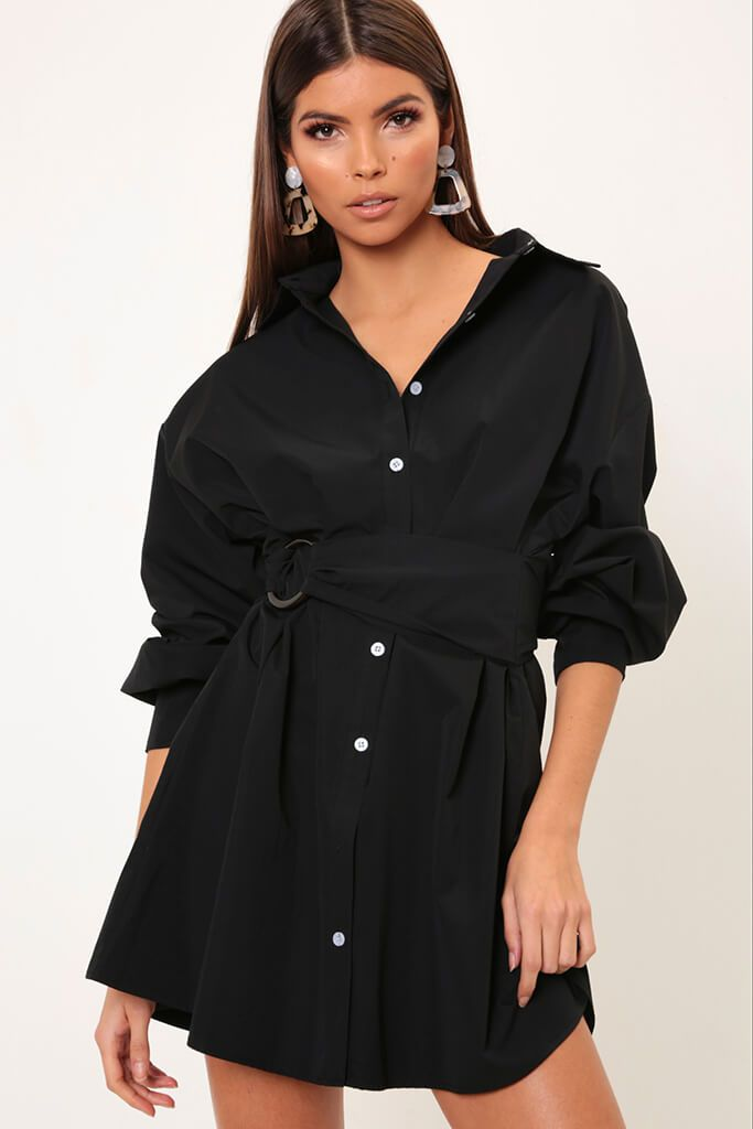 Black Belted Shirt Dress view main view
