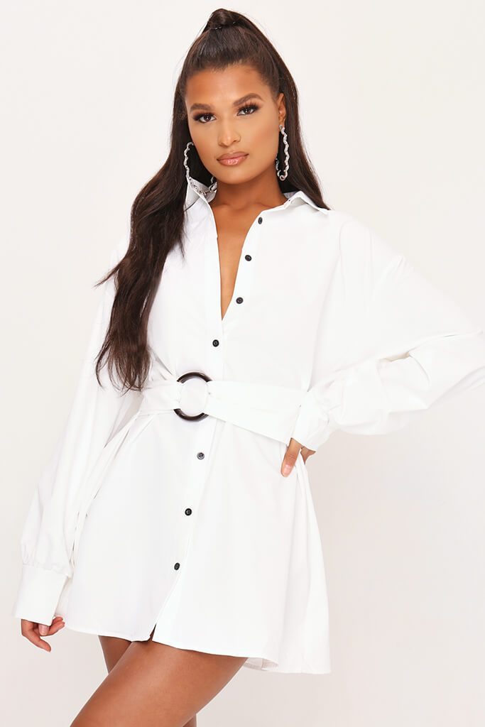 White Belted Oversized Shirt Dress view 2