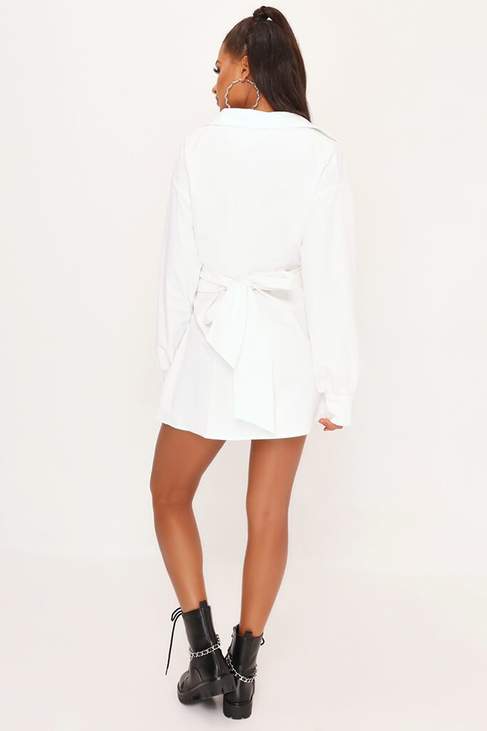 White Belted Oversized Shirt Dress view 5