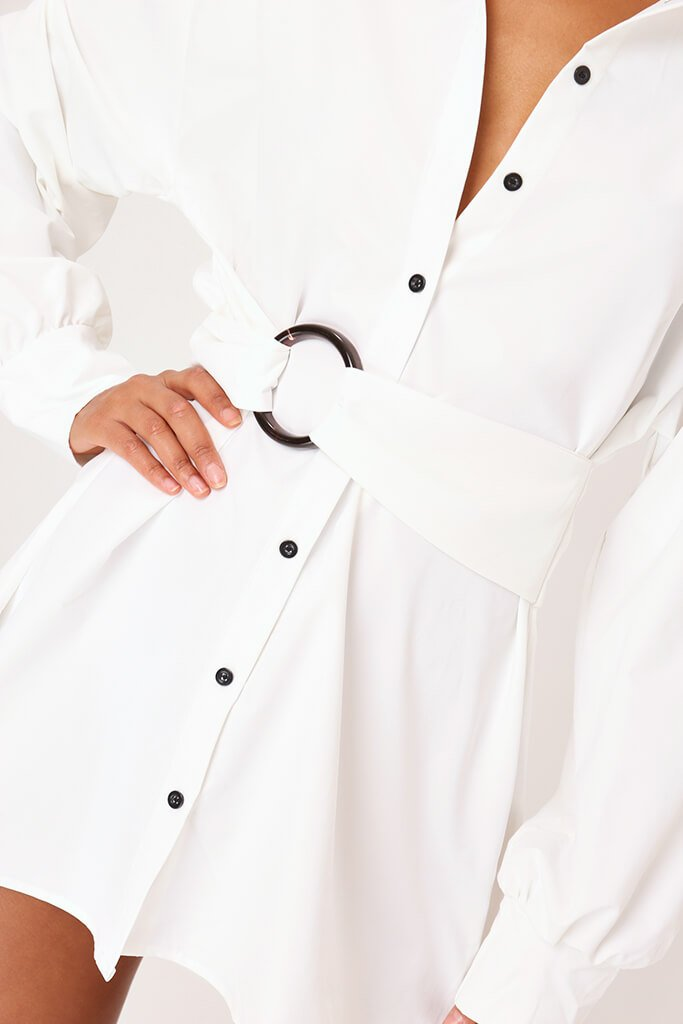 White Belted Oversized Shirt Dress view 4