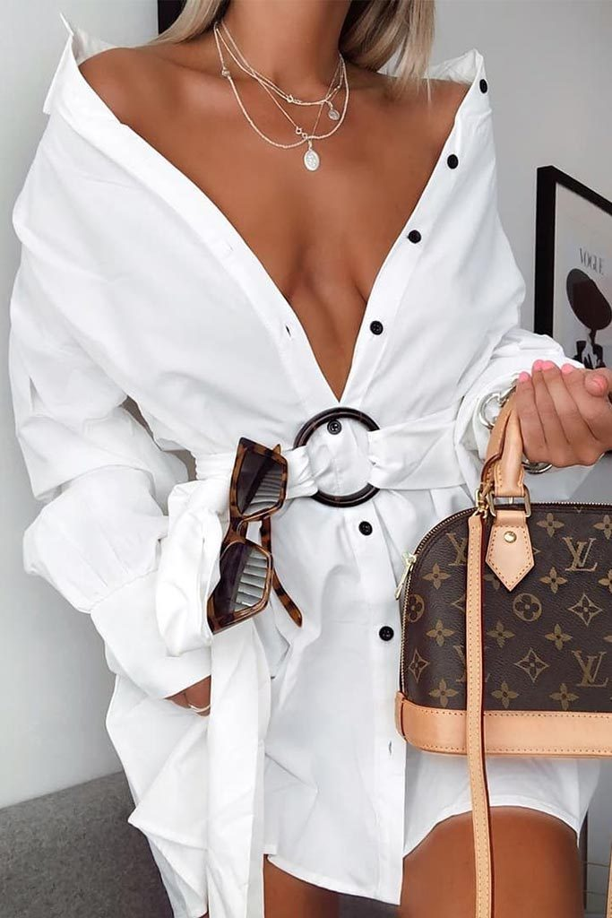 White Belted Oversized Shirt Dress view main view