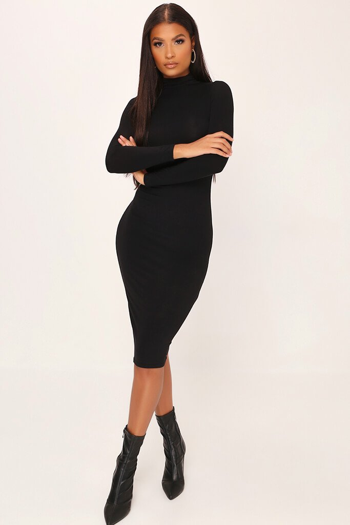 Black Jersey Long Sleeve High Neck Midi Dress view main view
