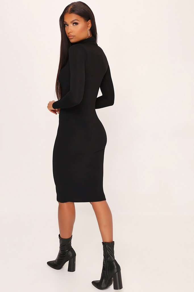 Black Jersey Long Sleeve High Neck Midi Dress view 5