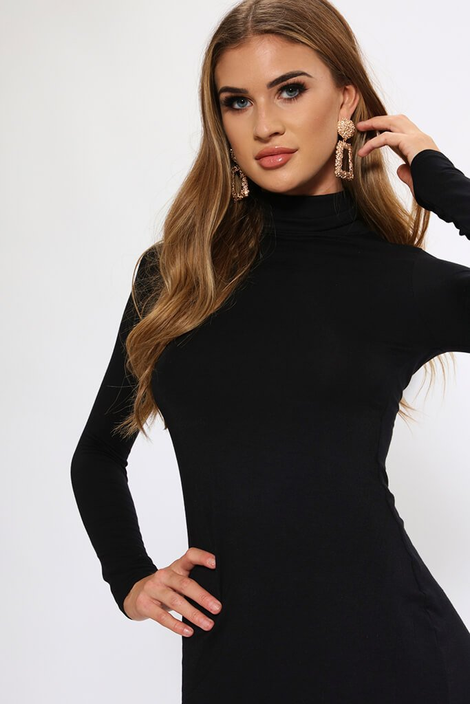 Black Long Sleeve Roll Neck Mini Dress view 3
