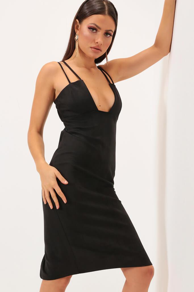 Black Strappy Plunge Suede Midi Dress view main view