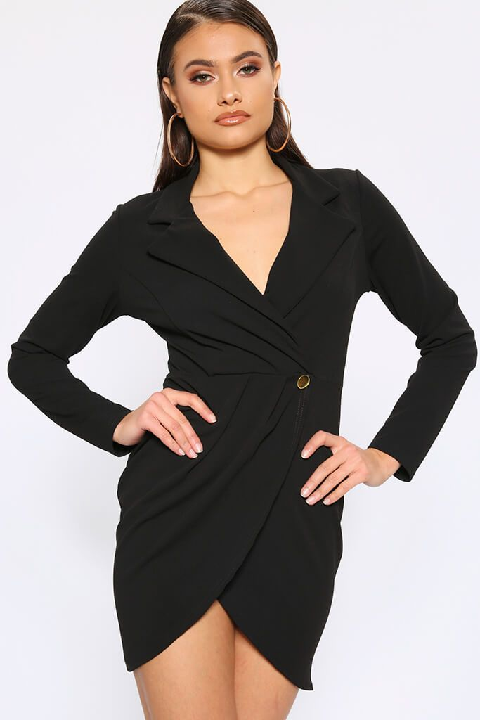 Black Crepe Long Sleeve Wrap Blazer Dress