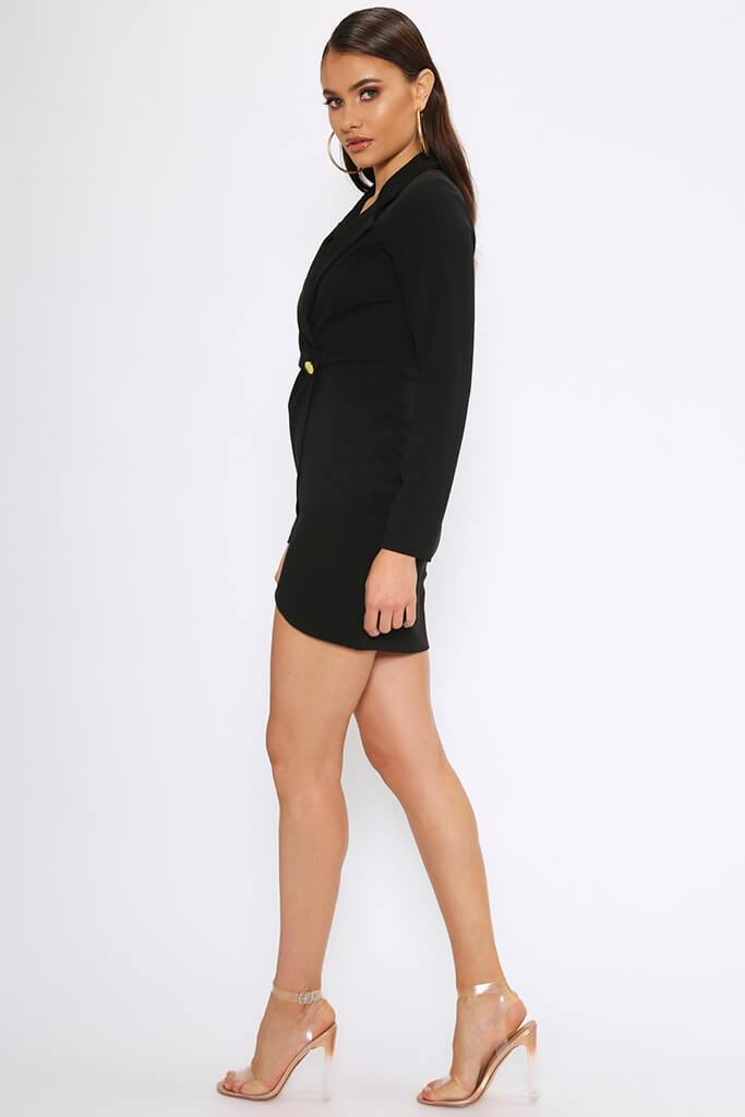 Black Crepe Long Sleeve Wrap Blazer Dress view 3