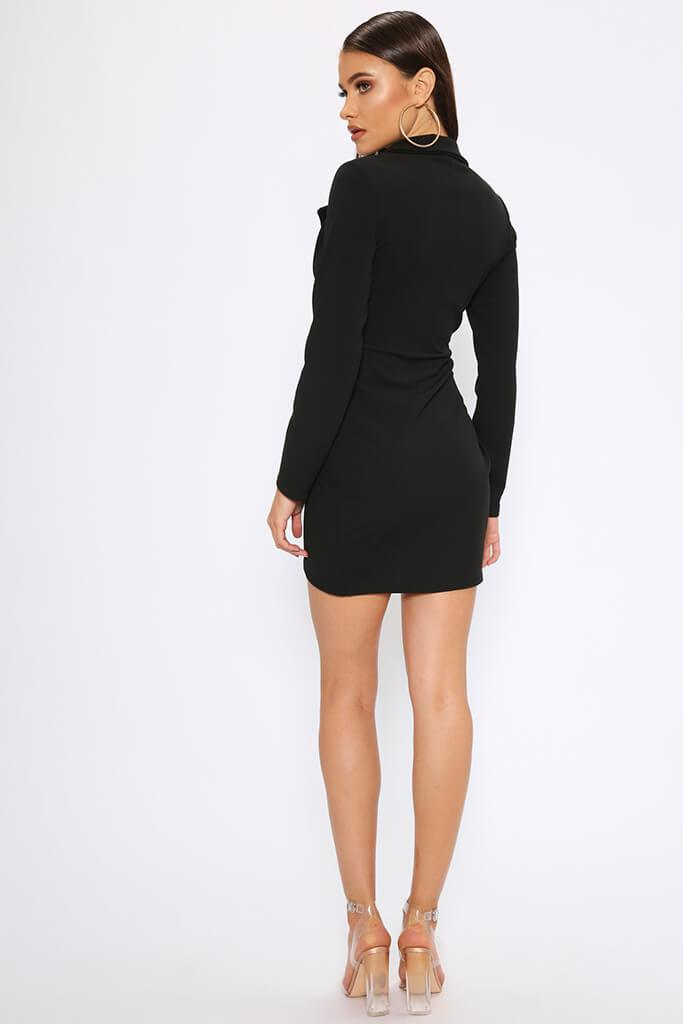Black Crepe Long Sleeve Wrap Blazer Dress view 5