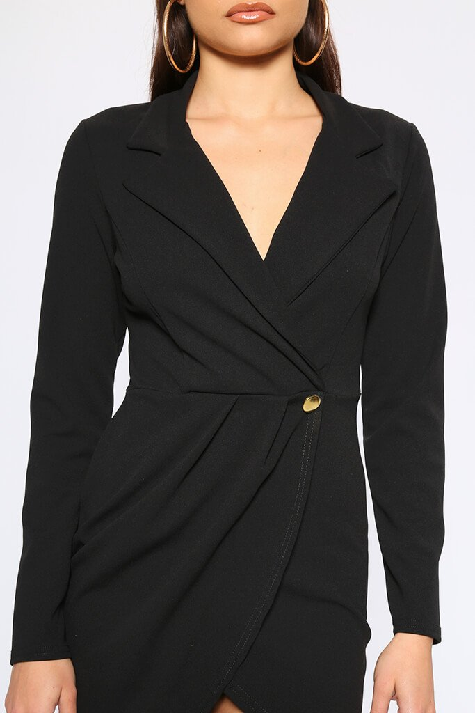 Black Crepe Long Sleeve Wrap Blazer Dress view 4
