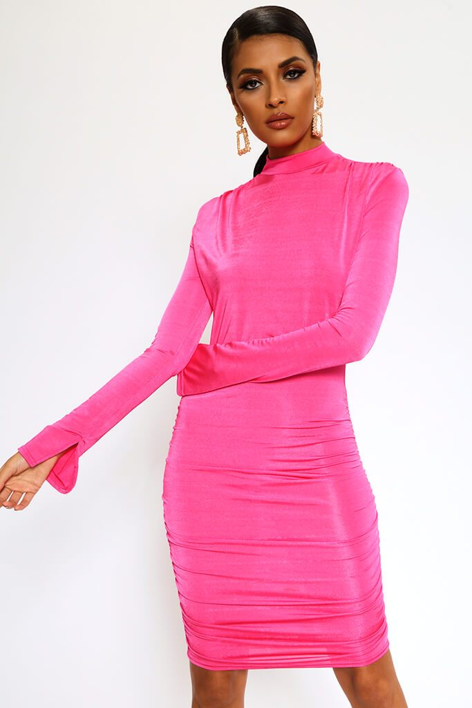 Fuchsia High Neck Long Sleeve Midi Dress
