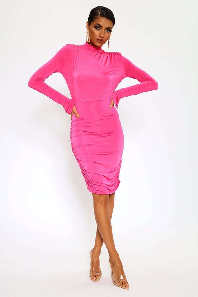 Fuchsia High Neck Long Sleeve Midi Dress view 2