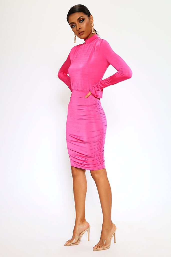 Fuchsia High Neck Long Sleeve Midi Dress view 3