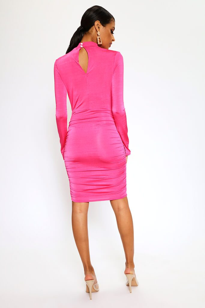 Fuchsia High Neck Long Sleeve Midi Dress view 5