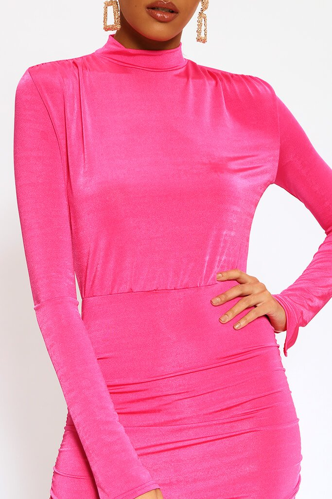 Fuchsia High Neck Long Sleeve Midi Dress view 4