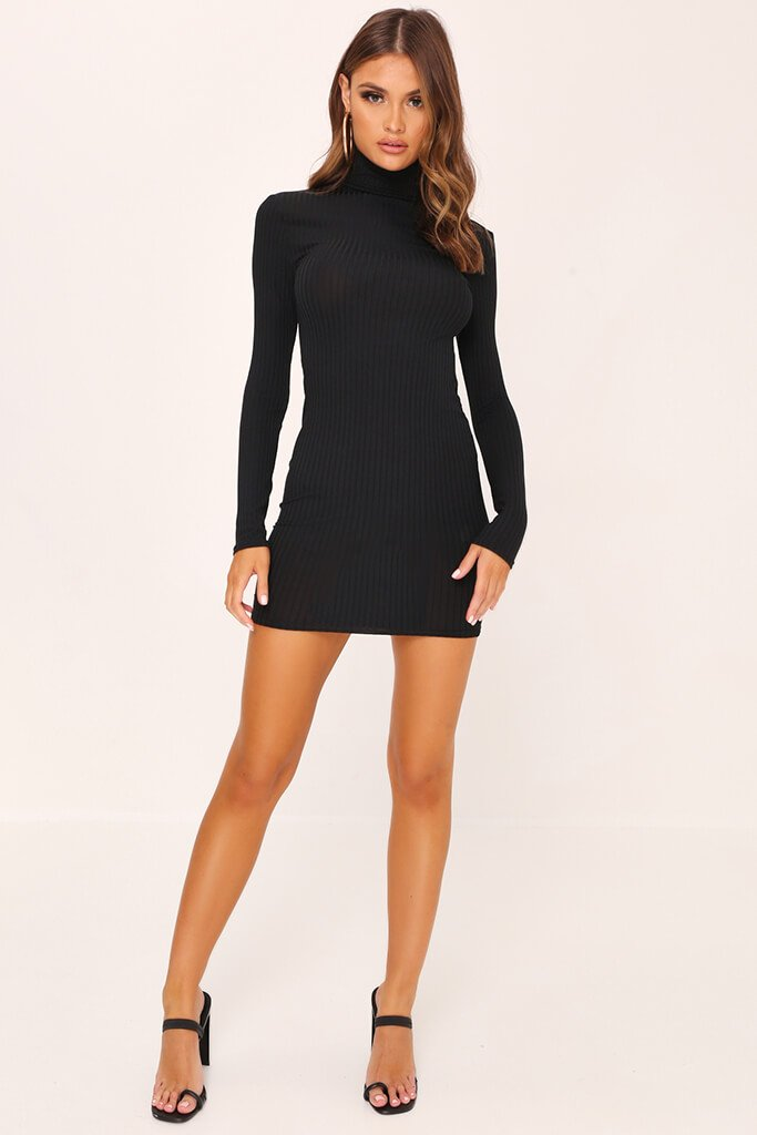 Black Rib Long Sleeve Roll Neck Bodycon Dress view 2