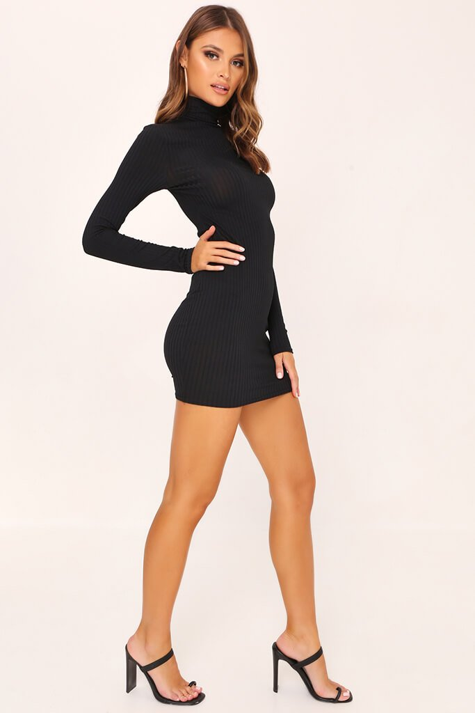 Black Rib Long Sleeve Roll Neck Bodycon Dress view 3