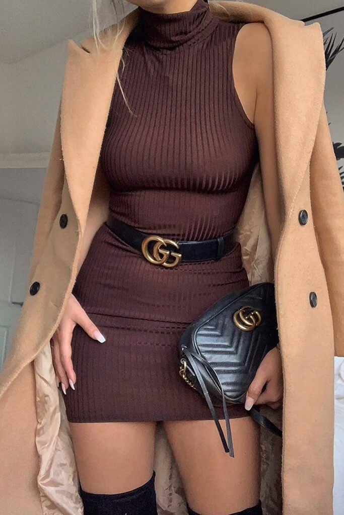 Chocolate Sleeveless Roll Neck Rib Mini Dress