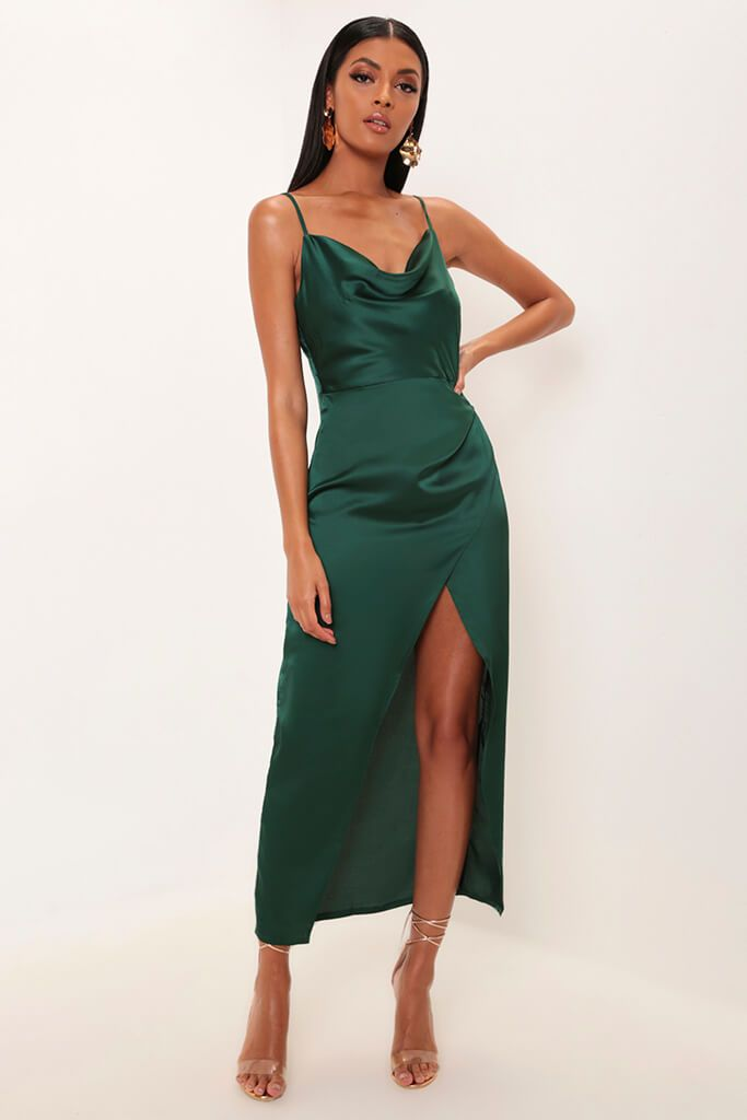 Emerald Satin Cowl Neck Maxi Dress view main view