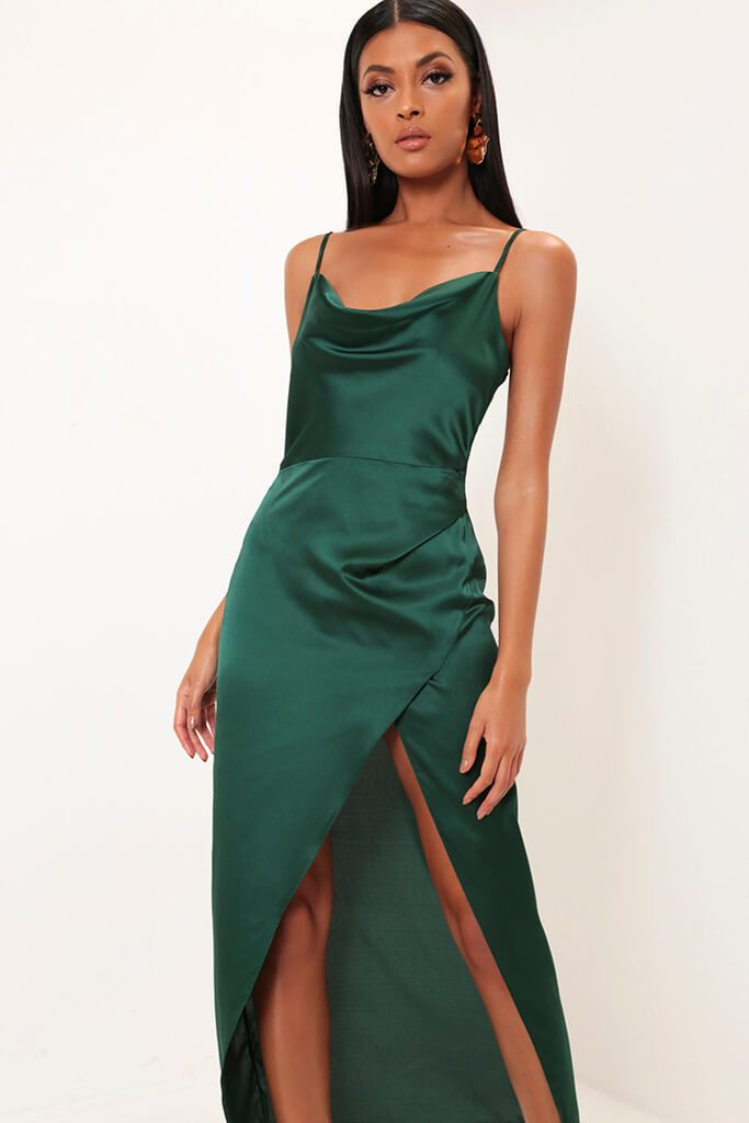 4f0848743f Emerald Satin Cowl Neck Maxi Dress - PDP – I SAW IT FIRST