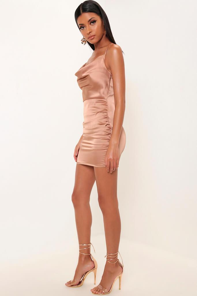 Taupe Cowl Neck Ruched Satin Mini Dress