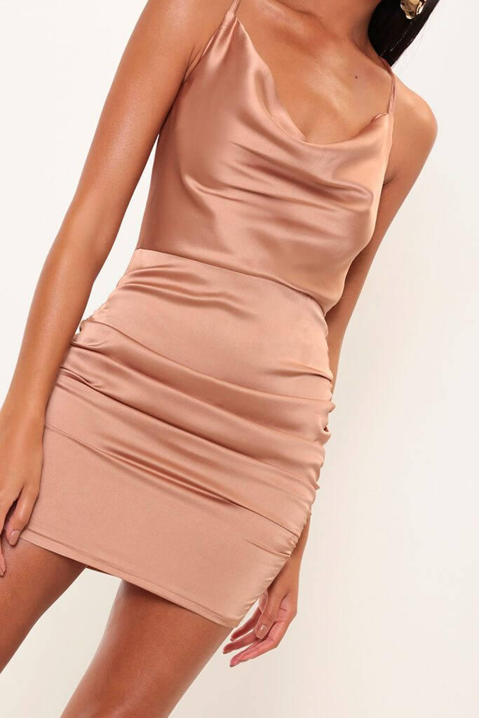 Taupe Cowl Neck Ruched Satin Mini Dress view 2