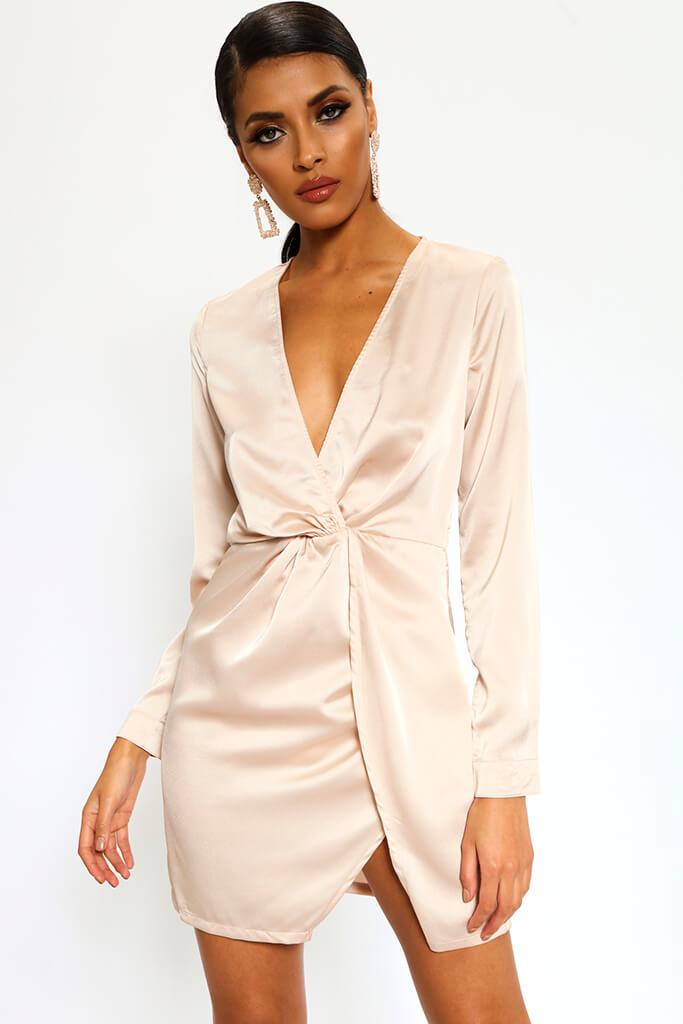 Nude Satin Twist Front Long Sleeve Mini Dress