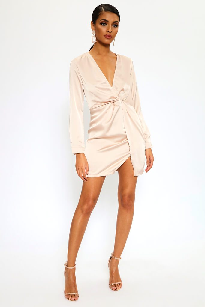 Nude Satin Twist Front Long Sleeve Mini Dress view 2