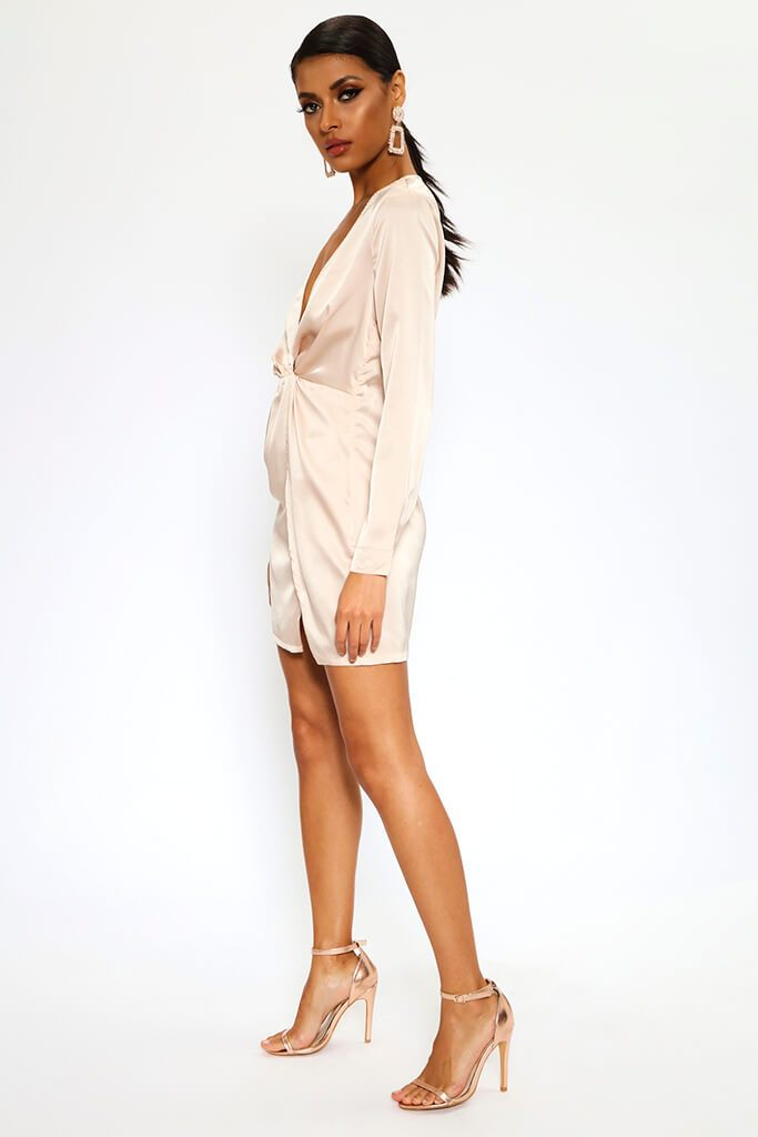 Nude Satin Twist Front Long Sleeve Mini Dress view 3