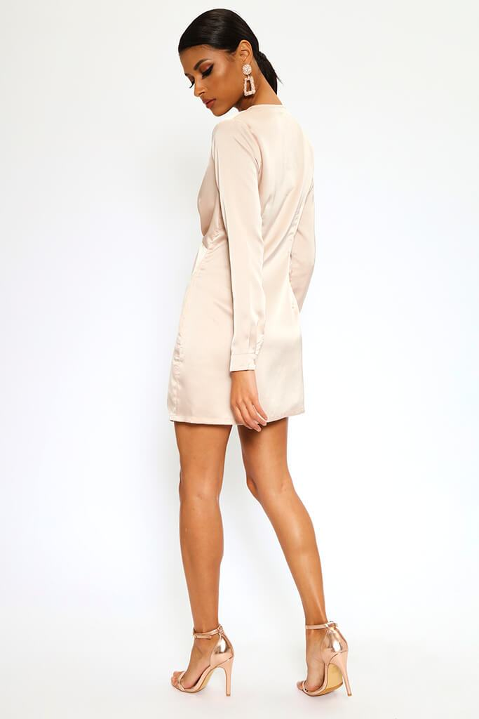 Nude Satin Twist Front Long Sleeve Mini Dress view 5