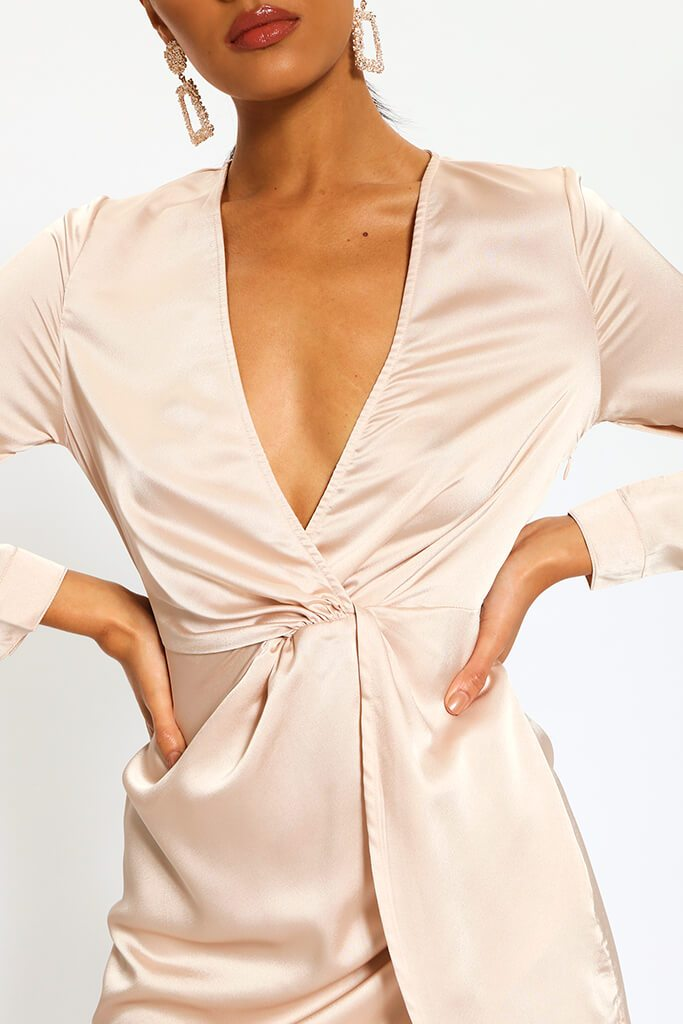 Nude Satin Twist Front Long Sleeve Mini Dress view 4