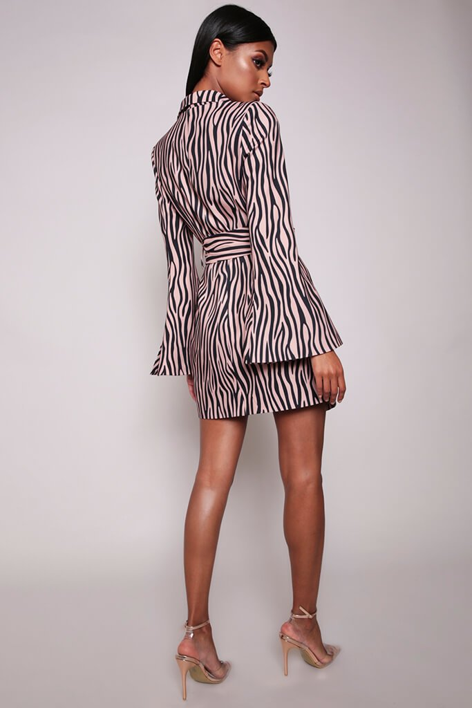 Beige Tiger Stripe Belted Blazer Dress view 5