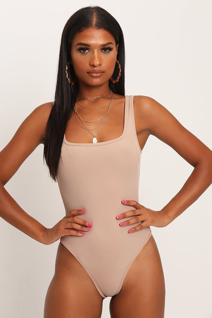Stone Basic Square Neck Ribbed Bodysuit view main view