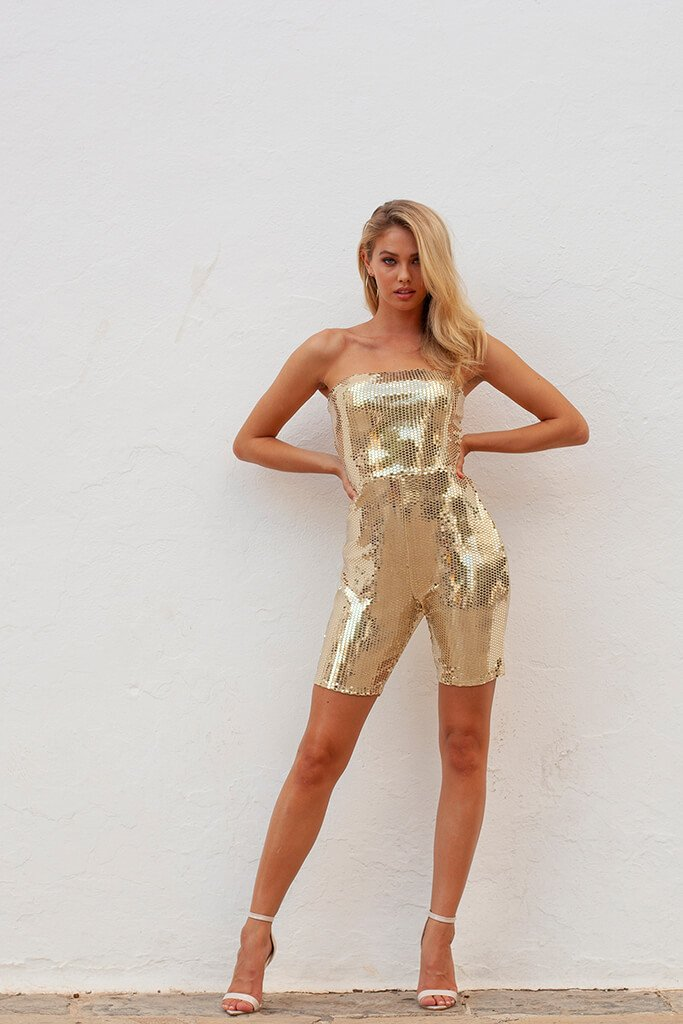 Gold Sequin Unitard view 2