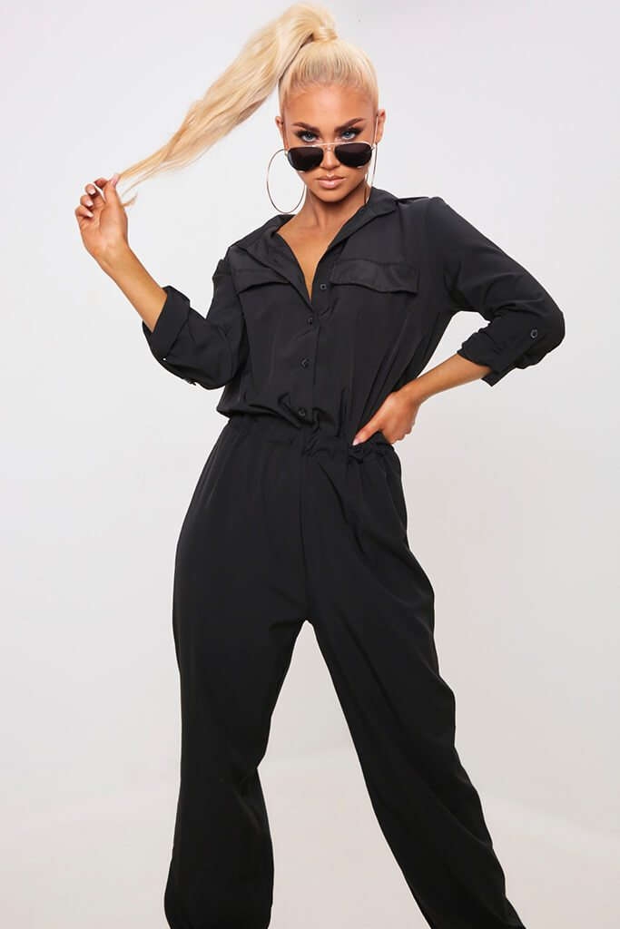 Black Utility Jumpsuit view 2