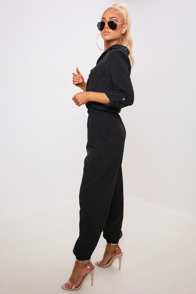 Black Utility Jumpsuit view 3