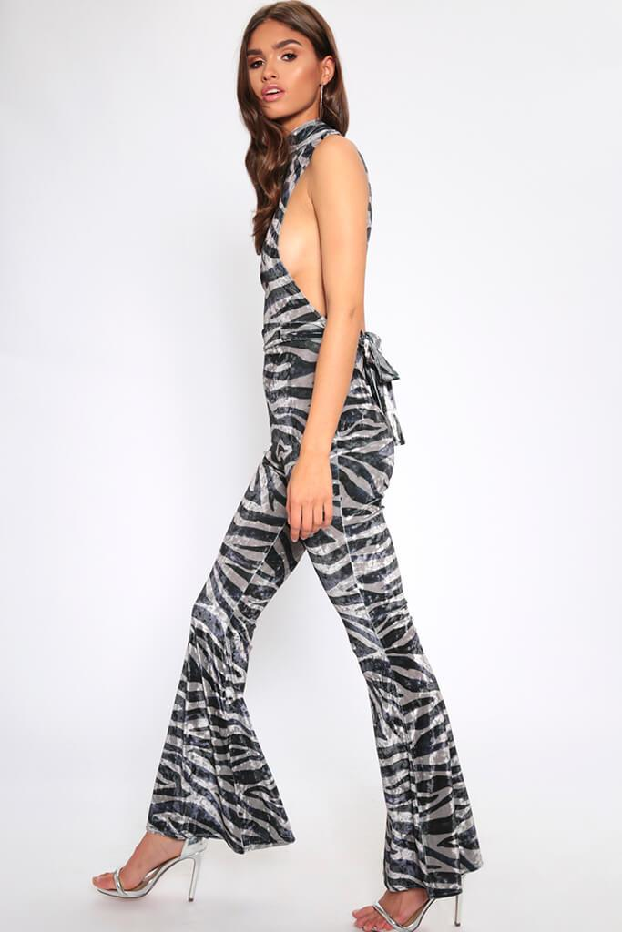 Grey/Light Tiger Print Velvet Jumpsuit view 3