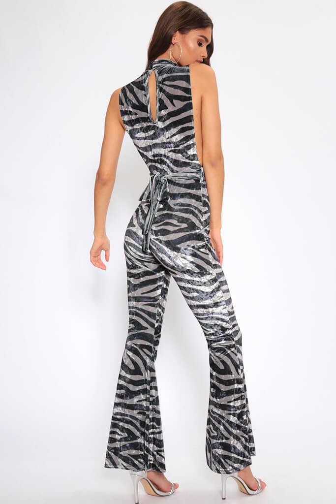 Grey/Light Tiger Print Velvet Jumpsuit view 5