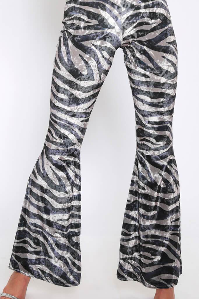 Grey/Light Tiger Print Velvet Jumpsuit view 4