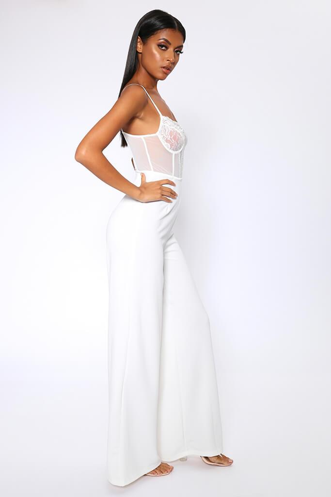 Cream Lace Bodysuit Style Wide Leg Jumpsuit view 3