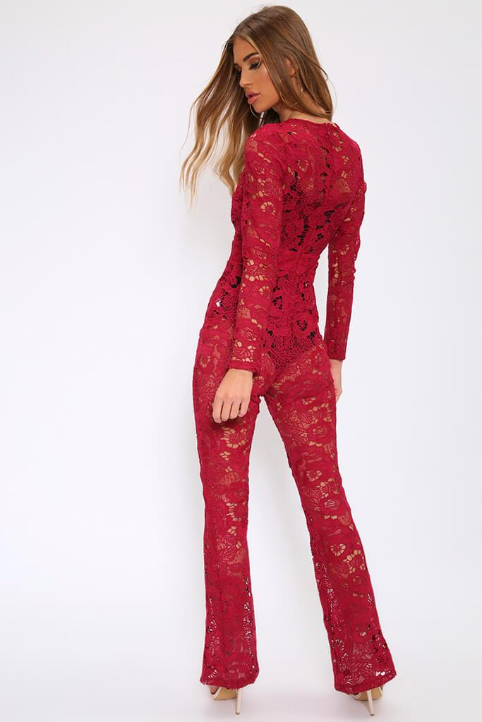 Berry Crochet Lace Sheer Jumpsuit view 5