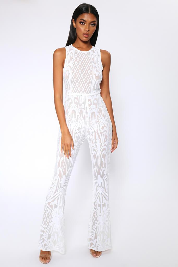 White Sequin Mesh Wide Leg Jumpsuit